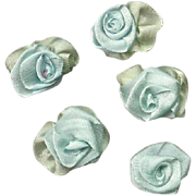 5 AMERICAN Hand Made PALE BLUE Silk Ribbon Floral Applique/Embellishment!
