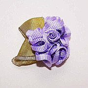 Vintage FRENCH Passementerie - Ribbonwork Rose Applique in Lavender Tones!
