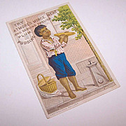 VICTORIAN Trade Card - Atmore's Mince Meat/Plum Pudding - Little Black Boy/Negro Eating!
