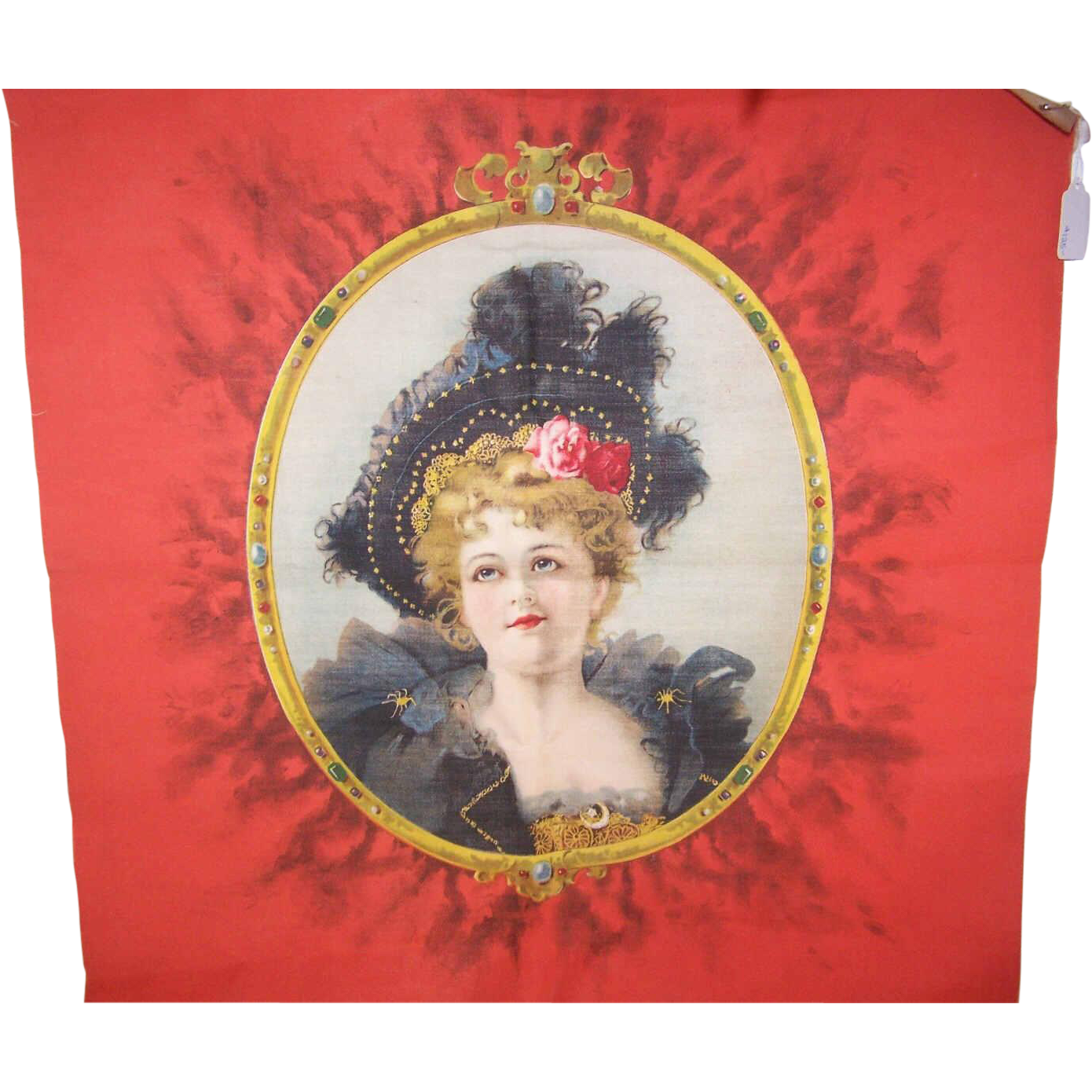 Rare ANTIQUE VICTORIAN Pillow Top - Merry Widow, Lovely Lady in Black