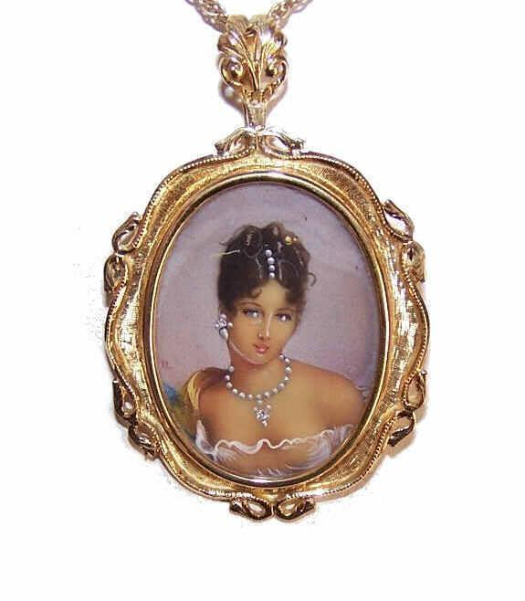 Vintage ITALIAN 18K Gold, Diamond & HP Portrait Miniature Pin/Pendant Combo!