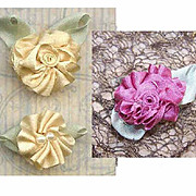 3 American Hand Made CREAM & MAUVE Silk Ribbon Floral Applique/Embellishment!