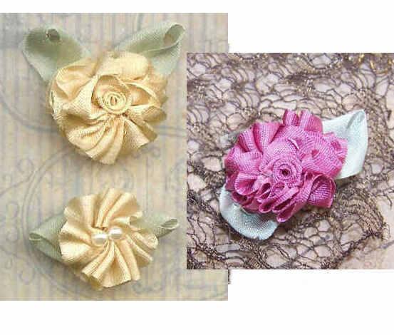 3 American Hand Made CREAM & MAUVE Silk Ribbon Floral Applique/Embellishment!