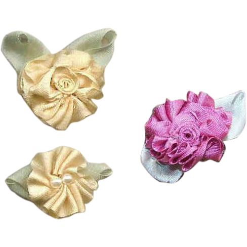 3 American Hand Made CREAM & MAUVE Silk Ribbon Floral Applique/Embellishment/Ribbonwork Rose!