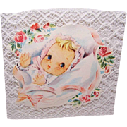 "Adorable C.1950 UNUSED ""Welcome Baby"" Card!"
