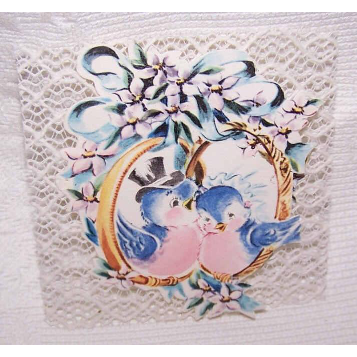 """3 Adorable C.1950 UNUSED """"Wedding Gift"""" Cards Featuring Blue Birds - With Envelopes!"""