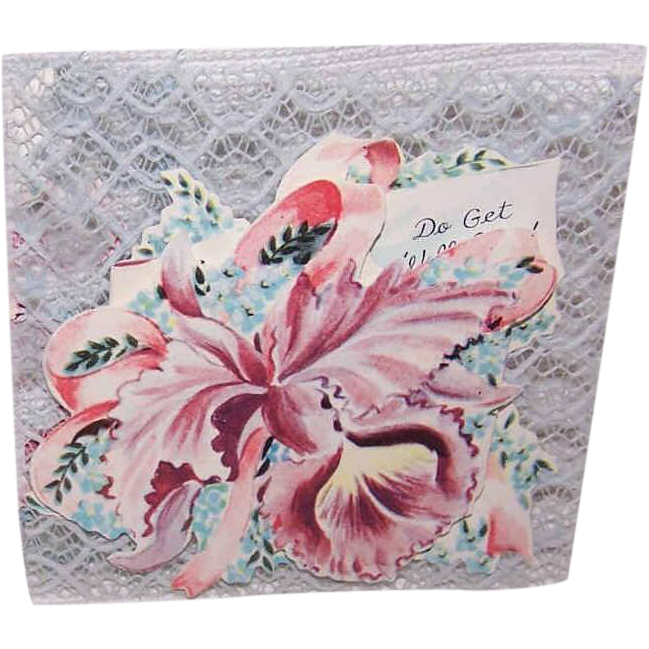 2 Adorable C.1950 Unused Greeting Cards - Get Well with Orchid Graphics!