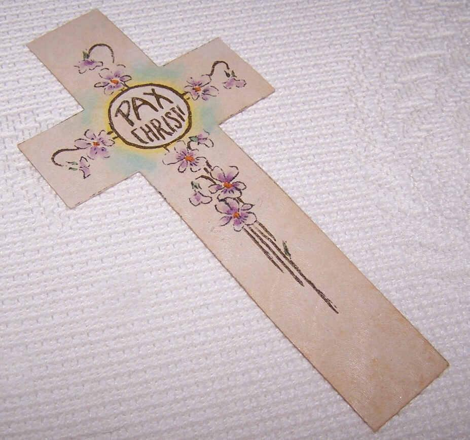 Vintage Religious Hand Painted Bookmark - PAX CHRISTI