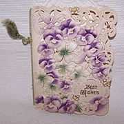 Unused ANTIQUE VICTORIAN Greeting Card - Best Wishes!