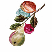 Vintage MILLINERY TRIM - Multi-Colored Velvet Fruit Spray!