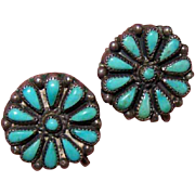 Vintage NATIVE AMERICAN/Southwest Sterling Silver & Turquoise Cab Earrings!
