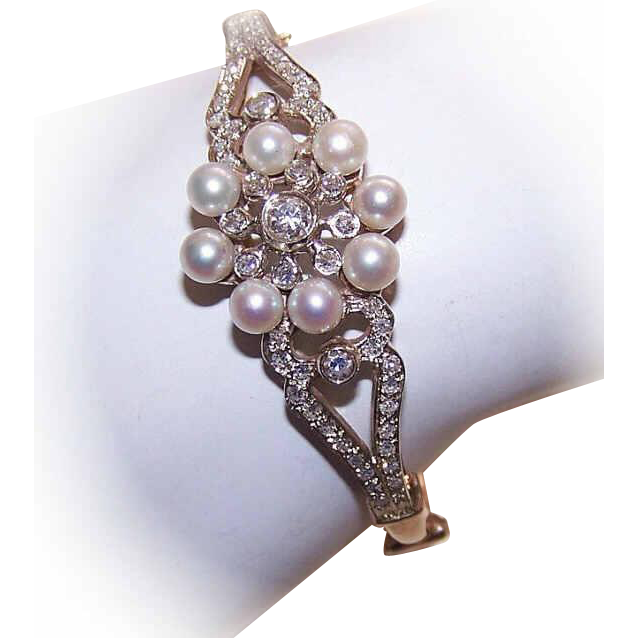 Edwardian Revival 14K Gold, 1.07CT TW Diamond & Cultured Pearl Bracelet!