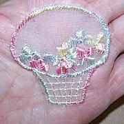 """2 Vintage """"Basket of Florals"""" Pink/Blue Organza Appliques!"""
