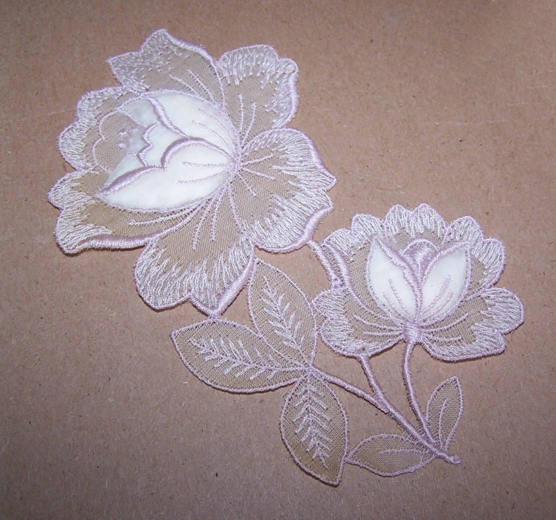 2 GORGEOUS Vintage Appliques - Pink Floral - Left & Right Pieces!