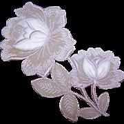 GORGEOUS Vintage Appliques - Pink Floral - Left & Right Pieces!