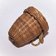 EDWARDIAN Hand Made Thimble Holder - a Simple Basket of Sweet Grass!