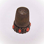Vintage European SILVER & Red Coral Sewing Thimble!