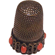 Vintage European SILVER & Red Coral Sewing Thimble! - Red Tag Sale Item