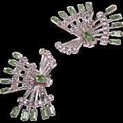 C.1950 Silver Tone Metal & Rhinestone Dress Clips!
