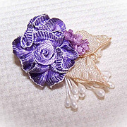 VINTAGE Silk Rayon Ribbon Rose Applique/Embellishment - Purple Ombre!