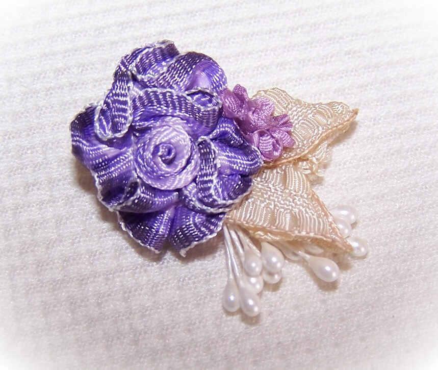 VINTAGE Silk Rayon Ribbon Rose Applique/Embellishment - Purple Ombre!