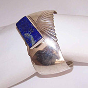 Vintage Navaho STERLING SILVER & Lapis Lazuli Cuff Bracelet by Mike Platero!