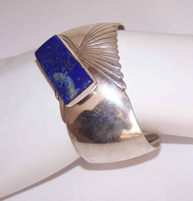 Vintage Navaho STERLING SILVER & Lapis Lazuli Cuff Bracelet by Mike Platero!
