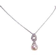 Beautiful ESTATE 14K Gold, Diamond & 8mm Cultured Pearl Pendant Necklace!