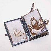 Vintage FRENCH Book Locket Pendant Containing Religious Photos!