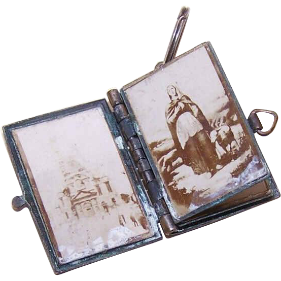 Vintage FRENCH BRASS Book Locket/Souvenir Pendant Containing Religious Photos!