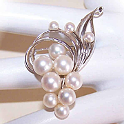 MIKIMOTO Sterling Silver & Cornucopia of Cultured Pearls Pin/Brooch!