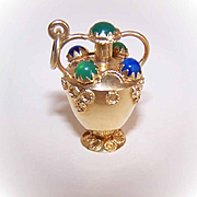 LARGE Italian 18K Gold & Gemstone Charm by Corletto - Vase/Urn!