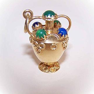 LARGE Italian 18K Gold & Gemstone Charm by Corletto - Vase/Urn!