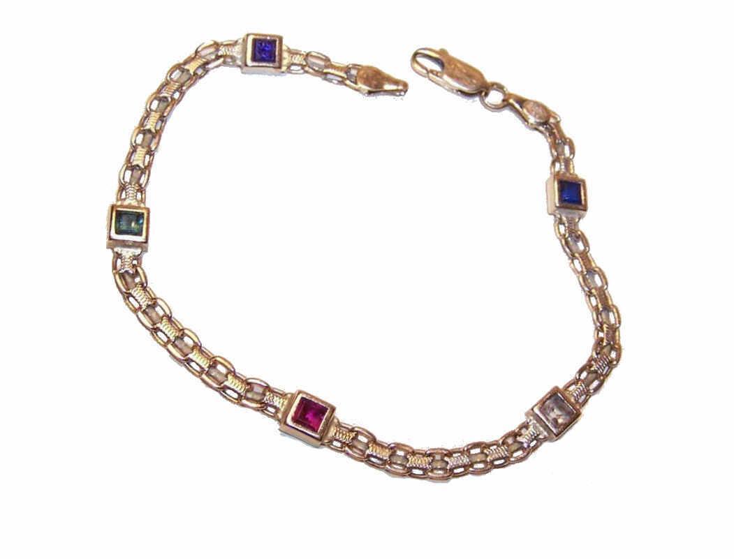 Lovely ESTATE 14K Gold & Multi-Gemstone Chain Bracelet ...