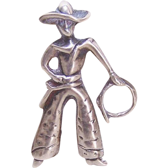 Vintage STERLING SILVER Pin/Brooch - Western Cowboy with Lasso!