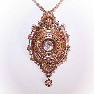 ANTIQUE VICTORIAN 14K Gold & .65CT Diamond Locket Pin/Pendant - Etruscan Style!