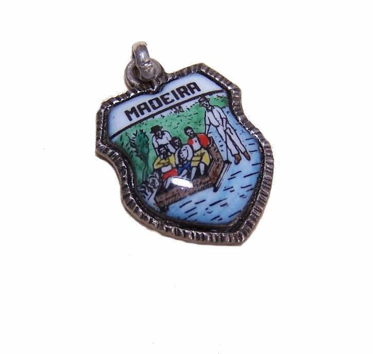 Vintage ALPACA & Enamel Travel Shield Charm for Madeira!