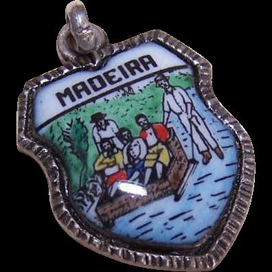 Vintage ALPACA & Enamel Travel Shield Charm for Madeira!