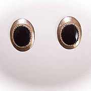 Vintage 14K Gold & Black Onyx Pierced Earrings/Studs!