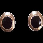Vintage 14K Gold & Black Onyx Pierced Earrings/Studs!