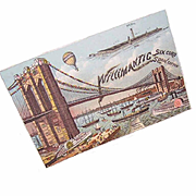 ANTIQUE VICTORIAN Willimantic Spool Cotton Trade Card - Bridge/Steamships Graphics!