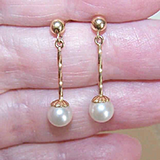 Vintage 14K Gold & 6mm Cultured Pearl Drop Earrings!