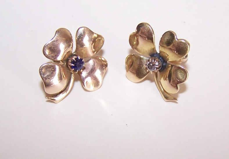 ANTIQUE VICTORIAN 14K Gold, Diamond & Sapphire 4 Leaf Clover Earrings!