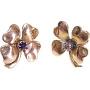 ANTIQUE VICTORIAN 14K Gold, Diamond & Sapphire 4 Leaf Clover Earrings!