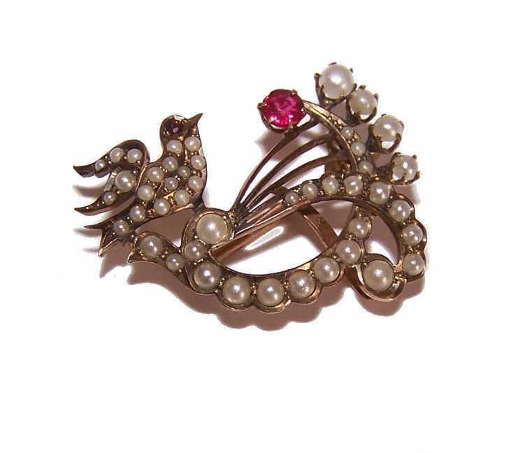 ANTIQUE EDWARDIAN 10K Gold, Glass Pearl & Ruby Sweetheart Pin/Brooch!