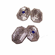 ART DECO 14K Gold, Diamond & Sapphire Cufflinks/Cuff Links!