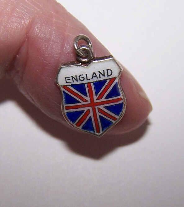 Vintage 800 Silver & Enamel Travel Shield Charm - England!