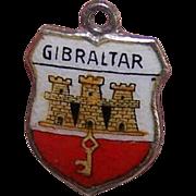 Vintage 800 Silver & Enamel Travel Shield Charm - Gibraltar!