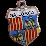 Vintage 800 Silver & Enamel Travel Shield Charm - Mallorca!