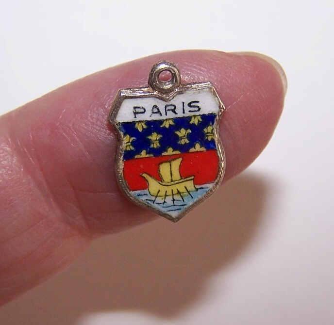 Vintage 800 Silver & Enamel Travel Shield Charm - Paris!